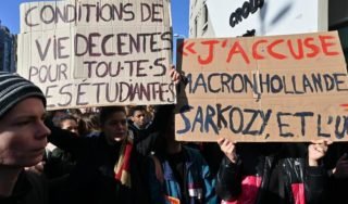 French students protest over poverty after attempted suicide