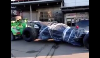 Batmobile towed by police in Moscow | ABC News
