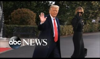 Donald Trump speaks briefly as he departs the White House