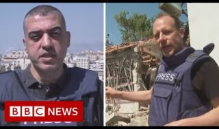 BBC reporters appear live from Israel and Gaza after 'barrage of rockets' – BBC News